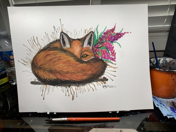 """Cozy Fox"" by ALASKAN WATERCOLORS BY KAREN"