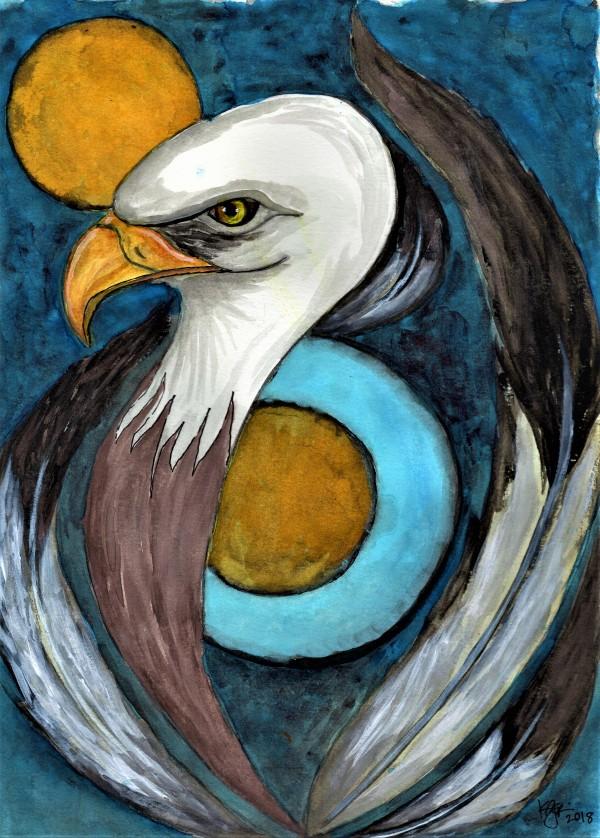 MOON EAGLE by ALASKAN WATERCOLORS BY KAREN