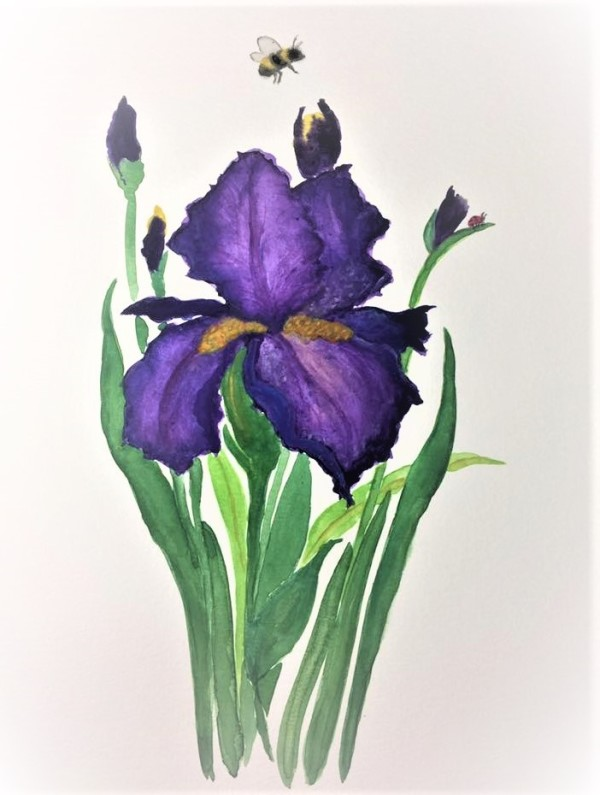 THE FLOWER AND THE BEE by ALASKAN WATERCOLORS BY KAREN