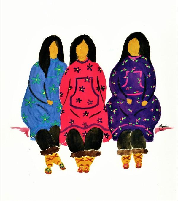 THREE LADIES by ALASKAN WATERCOLORS BY KAREN
