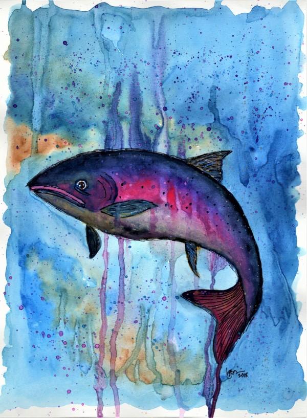 MULTICOLOR FISH by ALASKAN WATERCOLORS BY KAREN