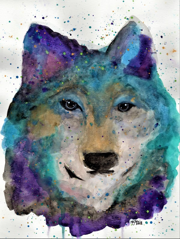 MULTICOLOR WOLF by ALASKAN WATERCOLORS BY KAREN