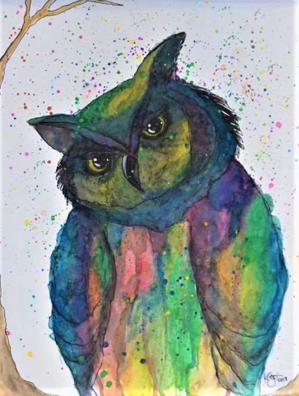 MULTICOLOR OWL by ALASKAN WATERCOLORS BY KAREN