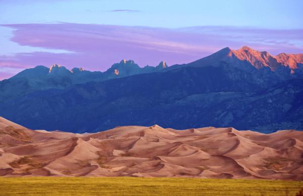 Crestone and Cleveland Peaks, Sunrise by Rodney Buxton