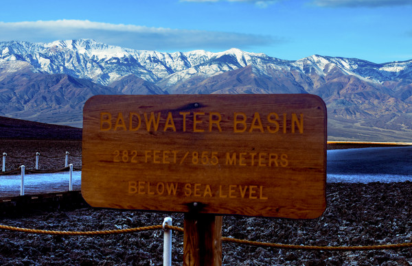 Telescope Peak from Badwater Basin, Morning by Rodney Buxton