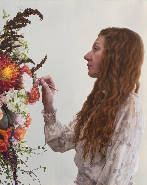 Self-Portrait Painting Flowers by Narelle Zeller