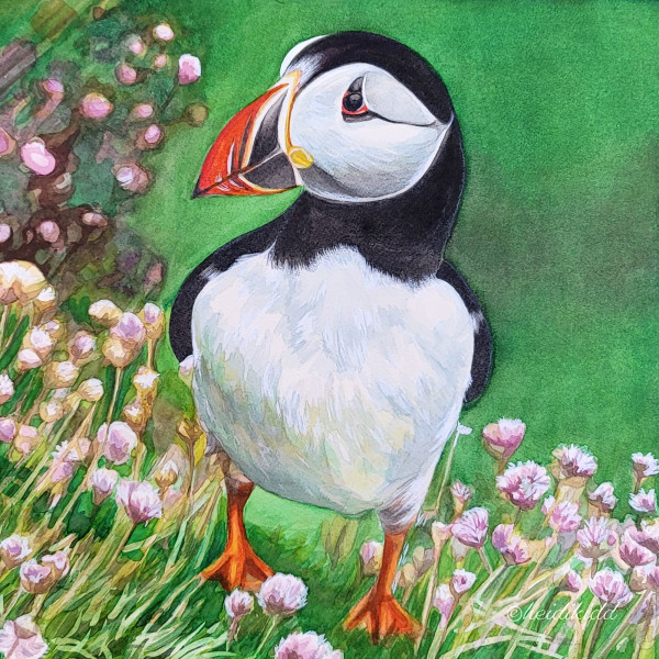 Puffin with Flowers by HEIDI KIDD