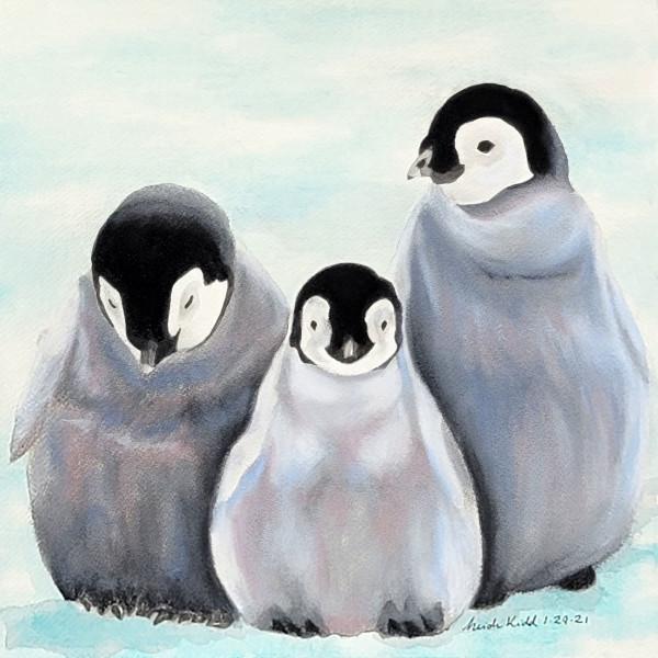 Three Emperor Penguin Chicks by HEIDI KIDD