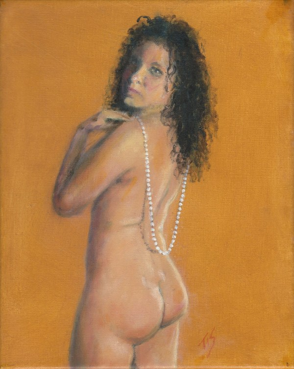 Nude with Pearls (golden) by Thomas Stevens