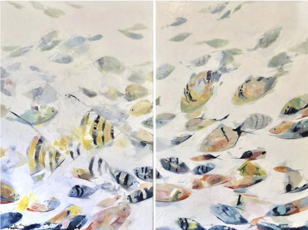 Fish 01_'Reef Life 1'_24x36双连画,克里斯蒂·藤山·科斯米德斯(Kristie Fujiyama Kosmides)著