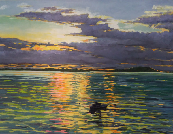 Annisquam Sunset with Boat by Elaine Lisle