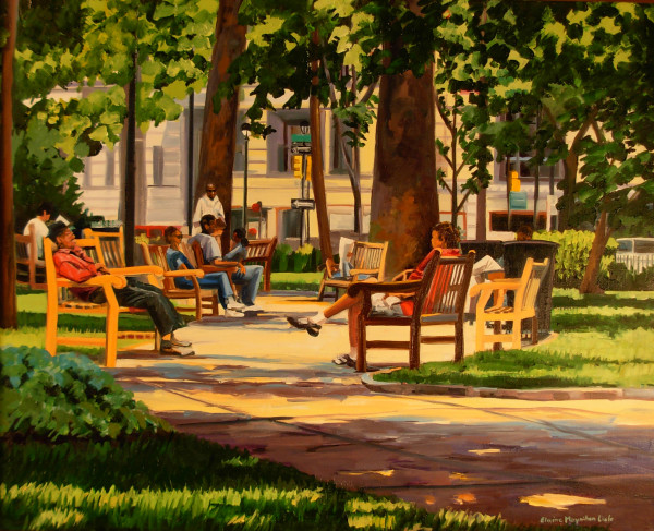 Benches in the Square by Elaine Lisle