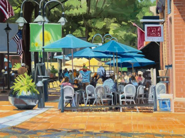 Blue Umbrellas Lunchtime by Elaine Lisle