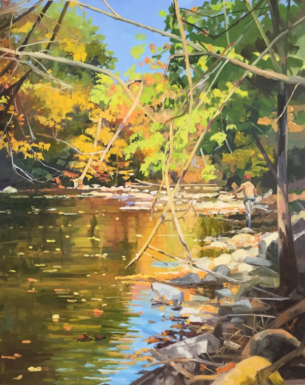 Crossed Branches in the Stream by Elaine Lisle