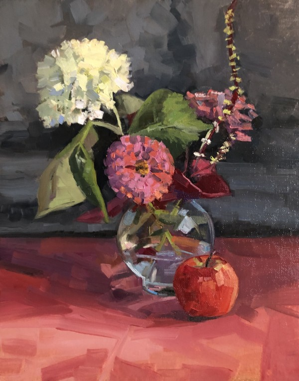 Hydrangea Zinnia with apple by Elaine Lisle