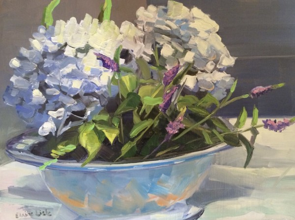 Hydrangeas in a Blue Bowl by Elaine Lisle