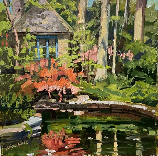 Azalea reflection by the Tea house by Elaine Lisle