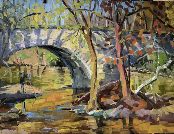 Painter under the bridge by Elaine Lisle