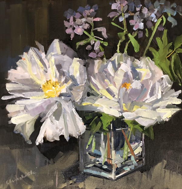 White Peonies with phlox by Elaine Lisle