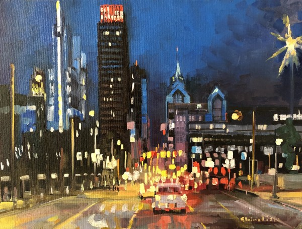City Hubbub at Night by Elaine Lisle