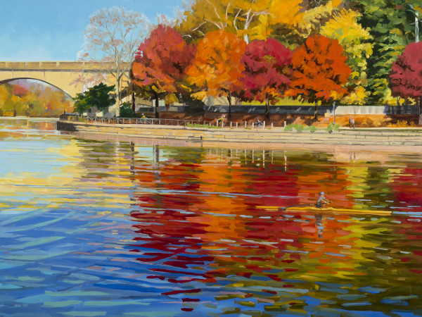 Red Trees on the Schuylkill by Elaine Lisle