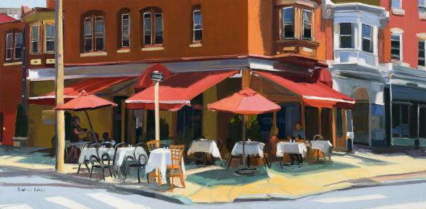 Red Umbrellas on the Corner by Elaine Lisle