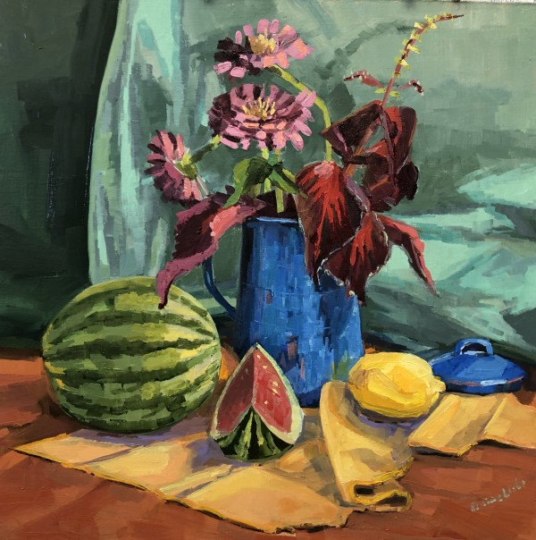 Zinnias in Blue Teapot by Elaine Lisle