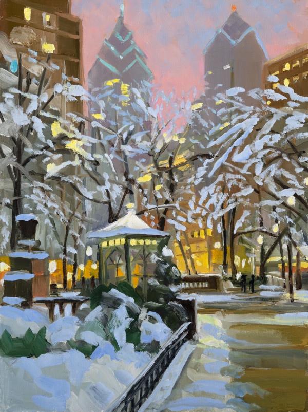 Rittenhouse Snow sketch by Elaine Lisle