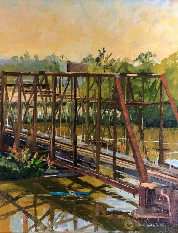 Morning Railroad Bridge by Elaine Lisle