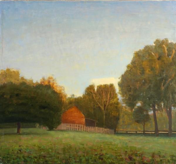 Dark October Dusk, Barn and Field