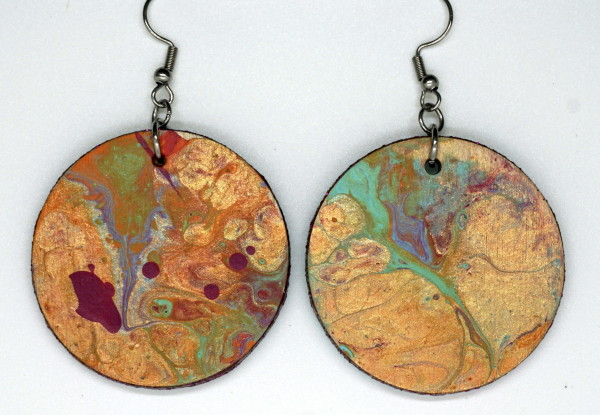 Gold Round Earrings and Mini-Painting by Luis A. Pagan