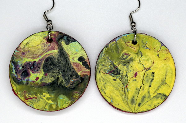 Yellow Round Earrings and Ornament by Luis A. Pagan