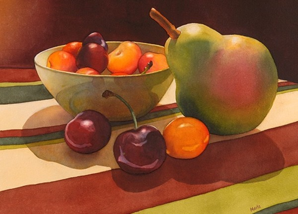 Pear and Cherries by Marla Greenfield