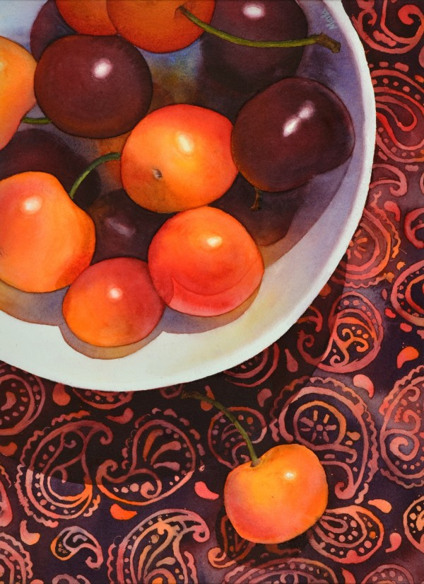 Cherries on Paisley by Marla Greenfield