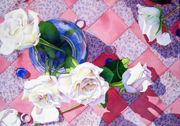 White Roses and Quilt by Marla Greenfield