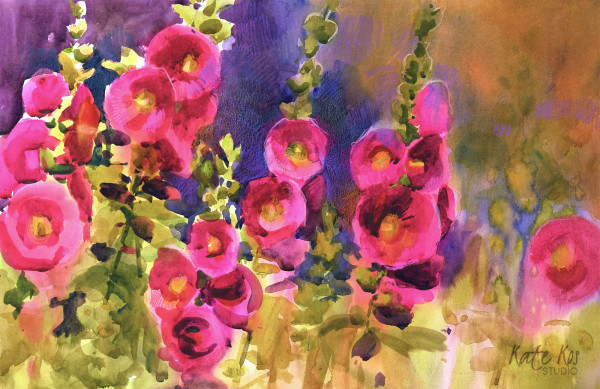 Hollyhocks II by Kate Kos