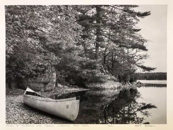 Canoe at White Sand Lake, Tobeatic Wilderness, Nova Scotia by Mark Brennan