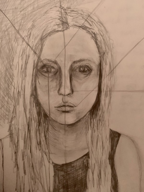 Self Portrait With Lines by Dina Alexis Cline