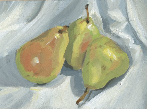 Pears on a White Cloth by Carrie Arnold