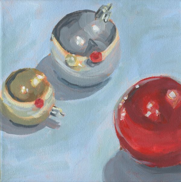 Ornaments on Blue by Carrie Arnold