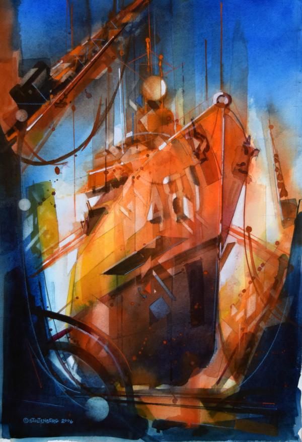 Destroyer at Drydock by Donald Stoltenberg