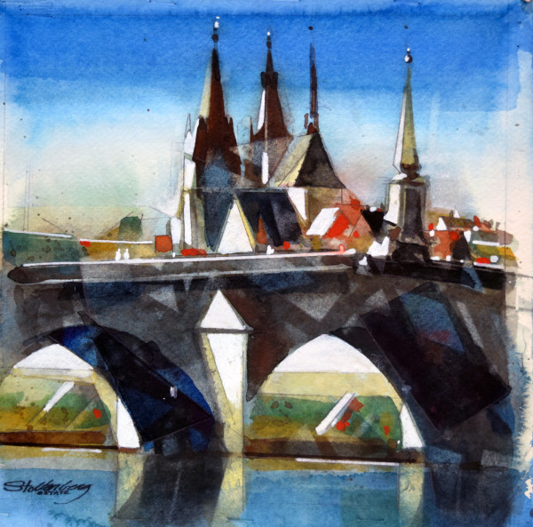 Bridge over the Loire River by Donald Stoltenberg