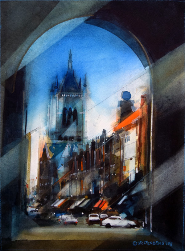 Ypres-Restored Town- Cloth Hall Through Menin Gate by Donald Stoltenberg