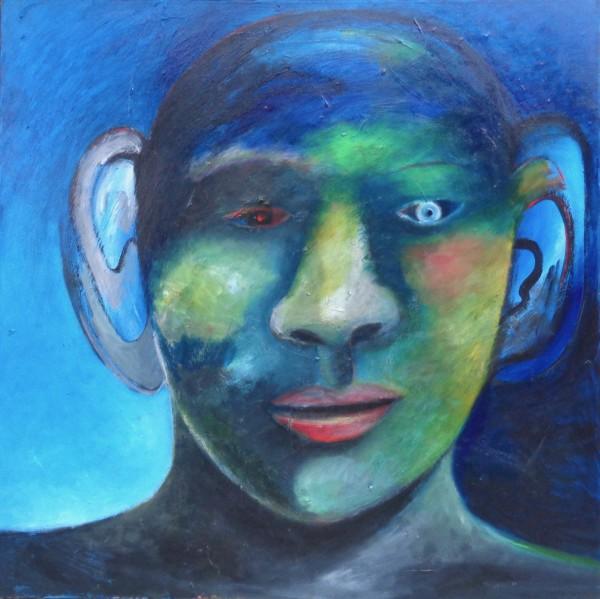 1227 Blue Green Head by Judy Gittelsohn