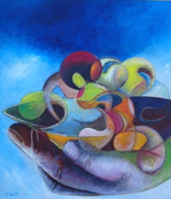 1030  XX? Painted Over Plate of Waves by Judy Gittelsohn