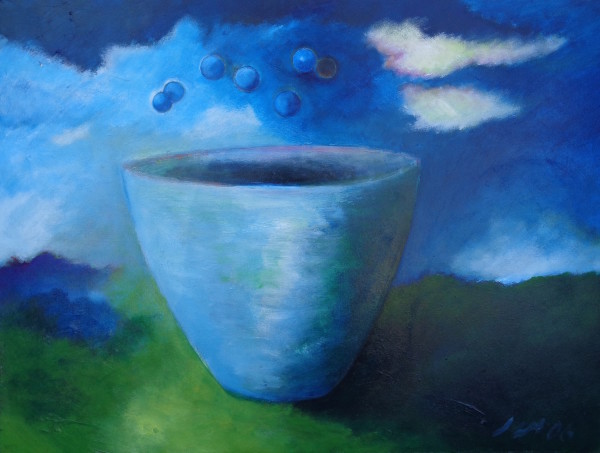 1076 Light Blue Cup with Bubbles by Judy Gittelsohn
