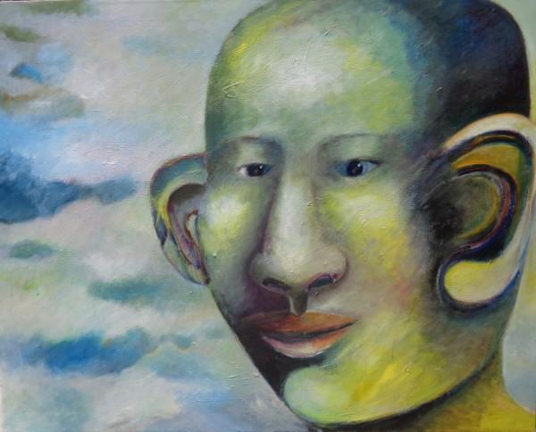 1230 Big Yellow Blue Head by Judy Gittelsohn