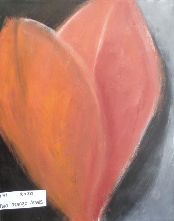 1191 Two Orange Leaves  by Judy Gittelsohn