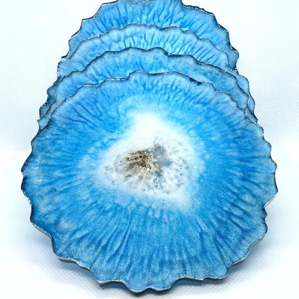 Resin Geode Coaster - Light Blue & Gold by S.J. Dopheide