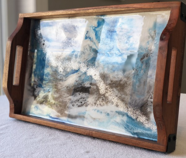 Resin Art Tray - Grey, Blue Silver by Stephanie Dopheide